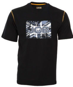 JCB Black Round Neck Union Jack T-Shirt