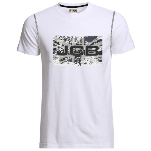 JCB White Round Neck Union Jack T-Shirt